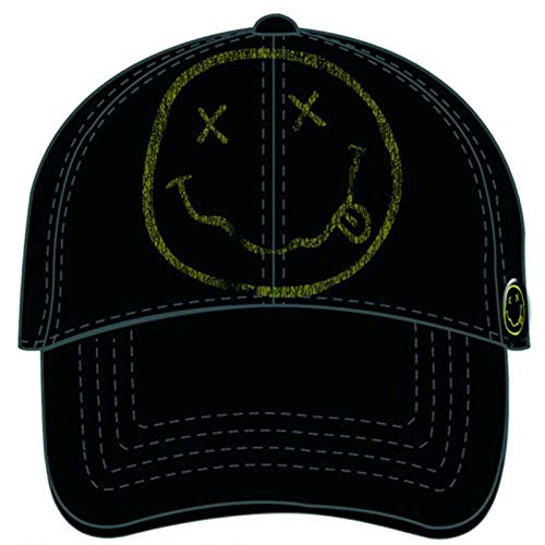 Nirvana Baseball Cap Smiley Face Band Log Distressed Official Black