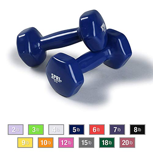 (SPRI Dumbbells Deluxe Vinyl Coated Hand Weights All-Purpose Color Coded Dumbbell for Strength Training (Set of 2) (Dark Blue, 5-Pound) )