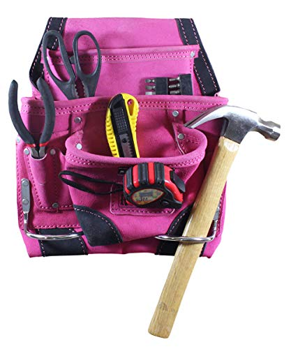 (9 Pocket Pink Leather Tool Pouch | Black Trim)