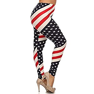 LJIF Plus American Flag Leggings Red, White & Blue Pants Spandex Women's Print Jeggings XL,XXL,XXXL 1X, 2X, 3X (XXL) (XXL)