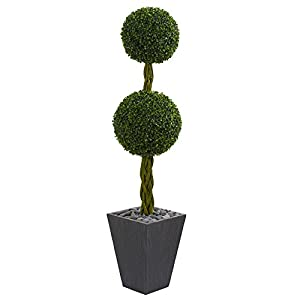 Nearly Natural 5' Double Ball Boxwood Topiary in Slate Planter Green 31