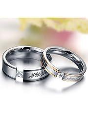 التيتانيوم الصلب محشو الماس حبيبتي الزفاف الذكرى السنوية زوجين مجموعة خواتم للرجال والنساء cr8