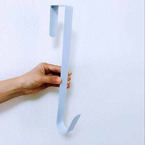 """Xiaoxi Design Metal Home Over The Door Wreath Hanger for Bathroom, Bedroom, Coats, Towels, 12"""" Large,White"""