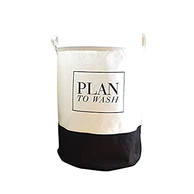"River aside Words White Black Folding Laundry Hamper - Size: 16"" x 20"". Material: Cotton and linen. This laundry basket hamper is durable and lightweight. Two carrying handles makes transporting simply. 'Plan to wash' design catch your eye. - laundry-room, hampers-baskets, entryway-laundry-room - 41op323toIL. SS400  -"