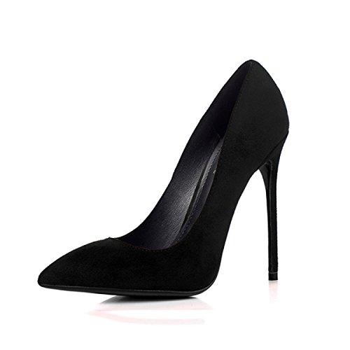 Talons Sexy Chaussure Femmes Haute Chaussures Profession Court Stiletto Dames Noir Pointu Black Daim OL Scrub qwYUv0YOxr