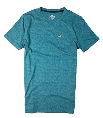 Hollister Men's Tee Graphic T-Shirt V Neck - Crew Neck (Blue Crew Pocket 0419, XL)