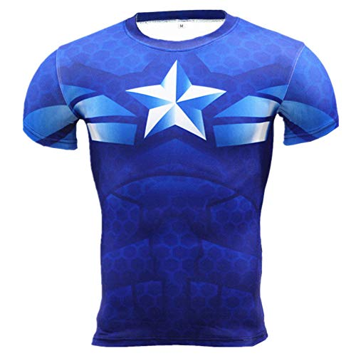 Slim Fit Short Sleeve Compression Shirts Mens Captain America Workouts Tee L -