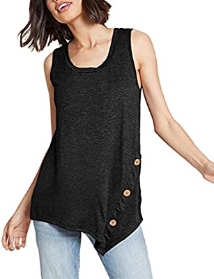 SMILEQ Camisa de Las Mujeres Tanques sin Mangas Ocasionales Top Botón Irregular Verano Chaleco sólido Blusa túnica (XXL, Negra): Amazon.es: Deportes y aire libre
