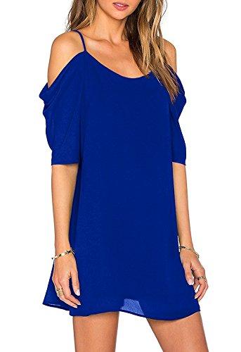 Sleeve Spaghetti Chiffon Cut Trumpet Dress Top Amstt Out Blue Cold Shoulder Strap q06Yxx4w