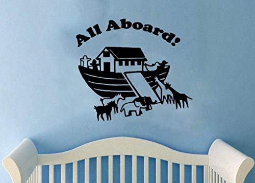 All Aboard-Noah's Ark with Animals Nursery x Wall Decals Mural Decor Vinyl Sticker SK8342