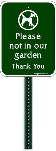 Small Discreet Please Not In Our Garden Sign and 1ft Steel Post Mounted To Place In Your Lawn Or Garden