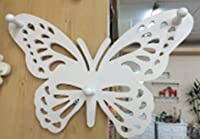 Elegant Butterfly Shaped Wall Mounted Hook, Shabby Chic, Carved Look Wooden White Art Decor