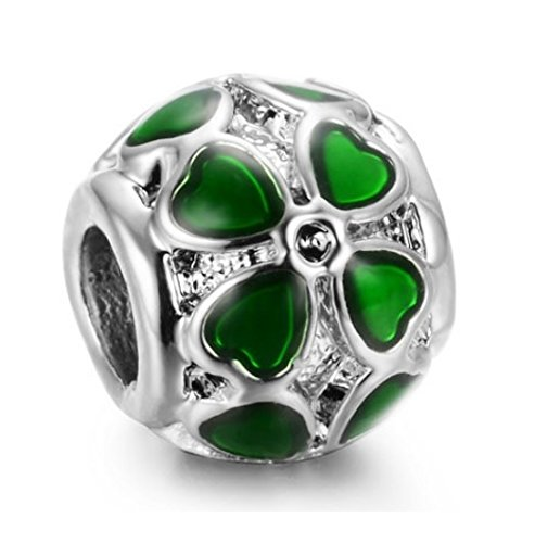 (J&M Green Enamel Clover Round Spacer Charm Bead for Bracelets)