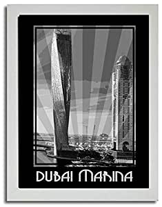 Dubai Marina- Black And White F03-m (a5) - Framed