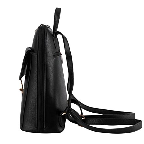 Women's Girl Bag Mini Satchel Leather Bag Black Rucksack School Backpack Shoulders Myleas Travel 1FdwRqgR