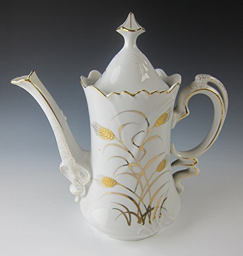 RARE VINTAGE LEFTON CHINA GOLD GILT WHEAT Teapot