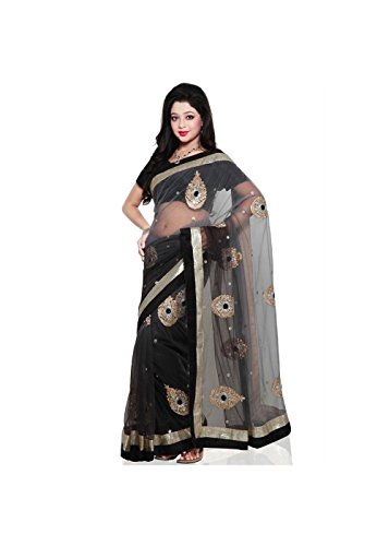 Bollywood Design Fancy Black andGrey Net Saree Fabric Pie...