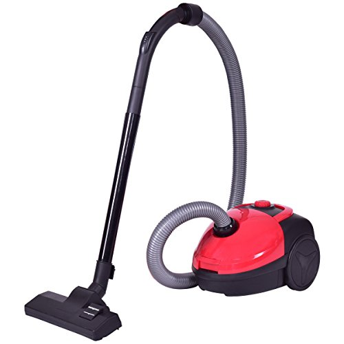 Costway Cyclonic Canister Vacuum Rewind Corded Powerful Vacuum Cleaner w/ Washable Filter Red