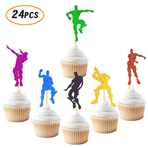 Video Game Cupcake Toppers Dance Gaming Themed Happy Birthday Party Supplies Cake Colorful Glitter Decorations 24 PCS - Birthday Cupcake