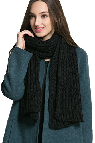 Women Men Winter Thick Cable Knit Wrap Chunky Warm Scarf All Colors Black Hor (Womens Cable Black)