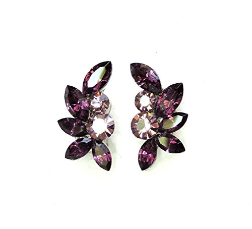 Gorgeous Amethyst Color Purple Floral Clip On Style (Rhinestone Floral Clip Earrings)