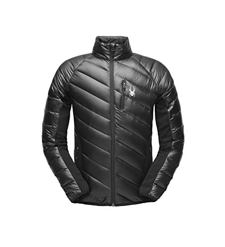 (Spyder Men's Syrround Down Hybrid Full Zip Jacket, Black/Black/Black,)