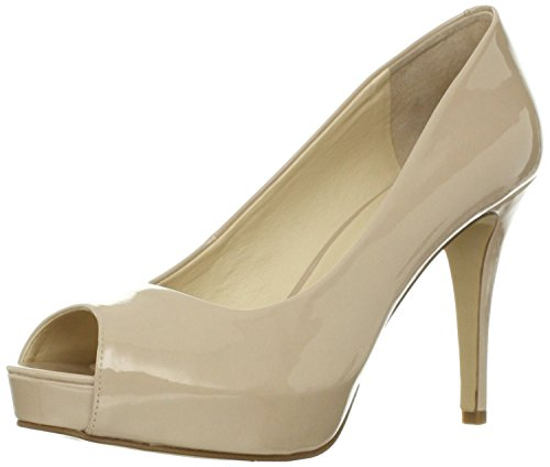 Nine West Women's Camya Peep-Toe Pump,Natural Synthetic,9 M US (West Toe Peep Shoes Nine)