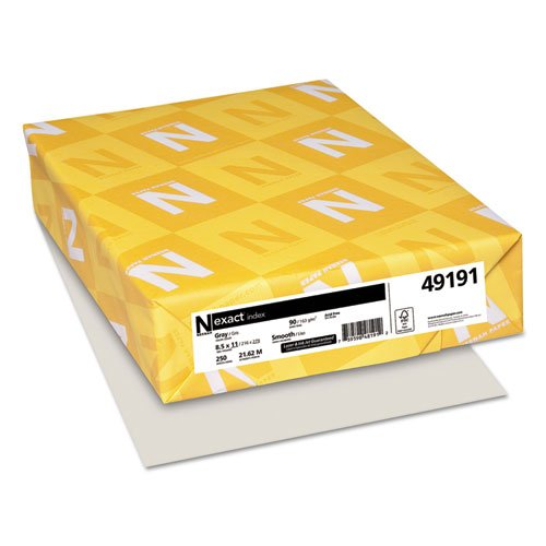 Wausau Paper Index - Wausau Paper : Index Card Stock, 90lb, Pastel Gray, Letter, 250 Sheets per Pack -:- Sold as 1 PK