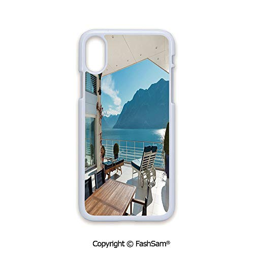 (Plastic Rigid Mobile Phone case Compatible with iPhone X Black Edge Terrace Penthouse Overlooking Lake Outside Deckchairs Tranquil Scene 2D Print Hard Plastic Phone Case)