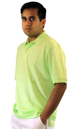 HATHAWAY CoolMax Jacquard Mesh Golf Polo Shirt (Key Lime, X-Large)