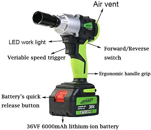 21V Cordless Impact Wrench-6.0Ah Rechargeable, 420Nm Torque & 14mm, 17mm, 19mm, 22mm Socket Set, 1/2 Inch Square Drive with Carry Case