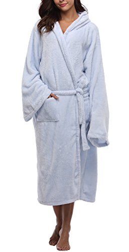 Hooded Robe Blue (VIKEY Women's Plush Coral Velvet Robe Cozy Long Hooded Bathrobe Nightgown Light Blue L/XL)
