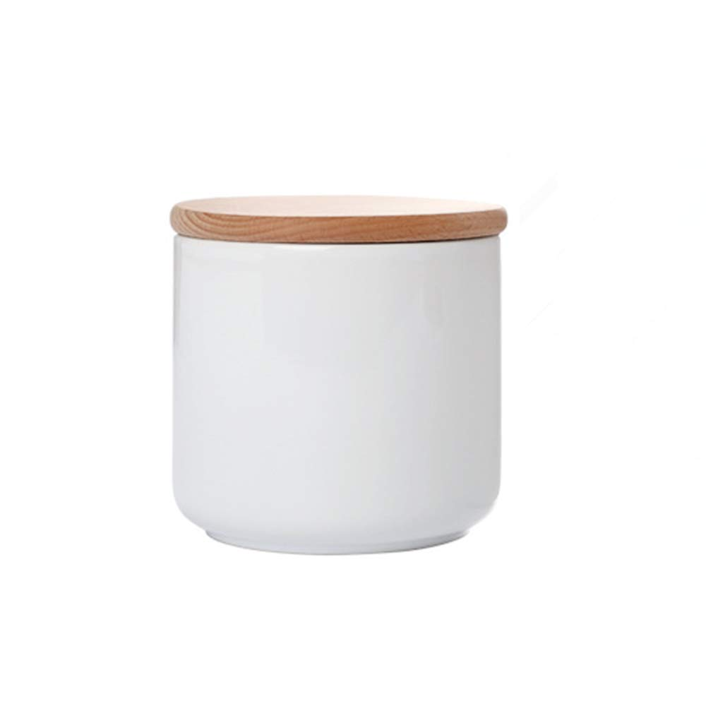 OnePine 3er Set Vorratsdosen Keramik mit Buche holz deckel Vorratsdose Kaffeedose Teedose - Weißes Porzellan Aufbewahrungsdosen für Tee Kaffee Bohne Zucker Gewürz Nüsse Korn B07M92R233 Kaffeedosen