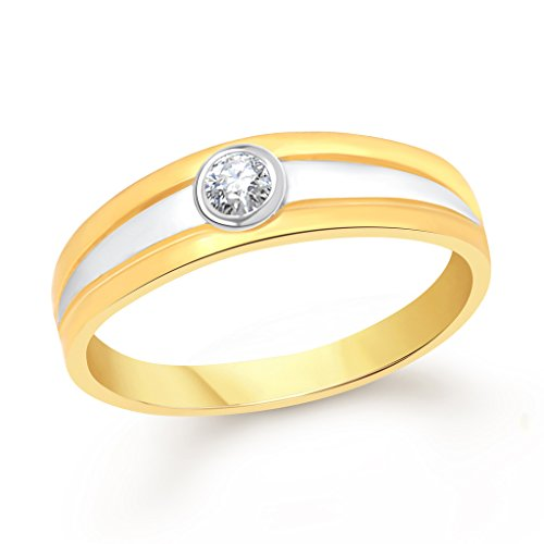 VK Jewels Simple Single Stone Gold and Rhodium Plated Alloy Ring for Women   Girls   FR2011G [VKFR2011G]