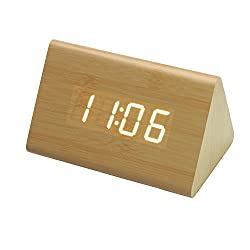 Small Digital Alarm Clock, Wake Up Alarm Clock Eco Material Best For Office,Students, Kids, Desk Decor (Display Temperature,Date,Year, 3 Alarm Settings)