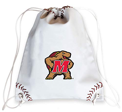 - Zumer Sport Maryland Terrapins Baseball Leather Drawstring Shoulder Backpack Bag - Made from The Same Exact Materials as a Baseball - White with Genuine red Stitching