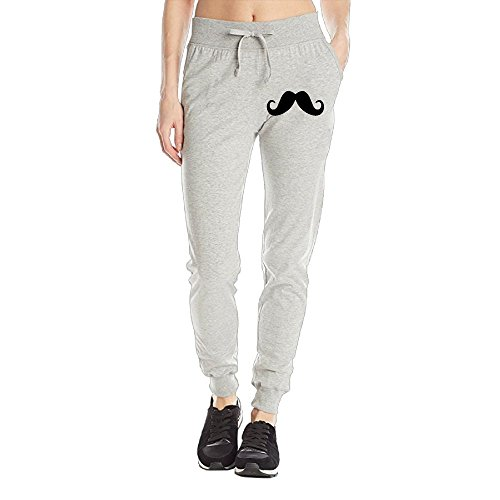Losport Women's Black Mustache Cotton Joggers Pants Slim Fit Bottoms Fleece Pant With Pockets M Ash