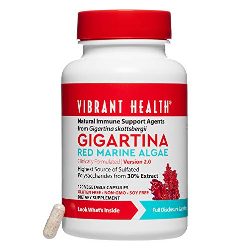 Vibrant Health - Gigartina Red Marine Algae, Natural Support for Immune Function and Healing, Gluten Free, Dairy Free, Non-GMO, Vegetarian, 120 Count