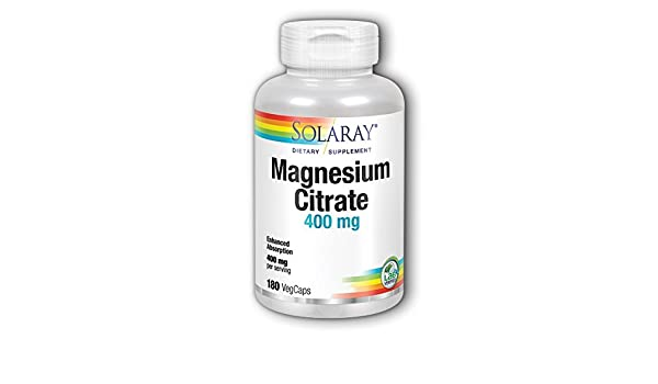 Solaray - Magnesio del citrato 400 del magnesio. - 180Capsule(s) vegetal: Amazon.es: Hogar