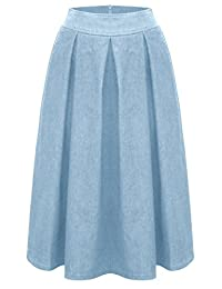 Baby'O Women's Retro Pleated Ultrasoft Light Weight Denim Skirt