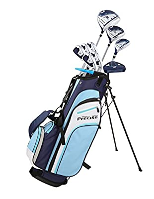 Precise M3 Ladies Womens Complete Golf Clubs Set Includes Driver, Fairway, Hybrid, 7-PW Irons, Putter, Stand Bag, 3 H/C's Blue - Regular or Petite Size! from Precise