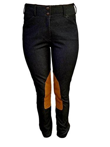 (Tailored Sportsman Ladies Trophy Hunter Mid Rise Front Zip Navy Denim Tan Patch 30R)