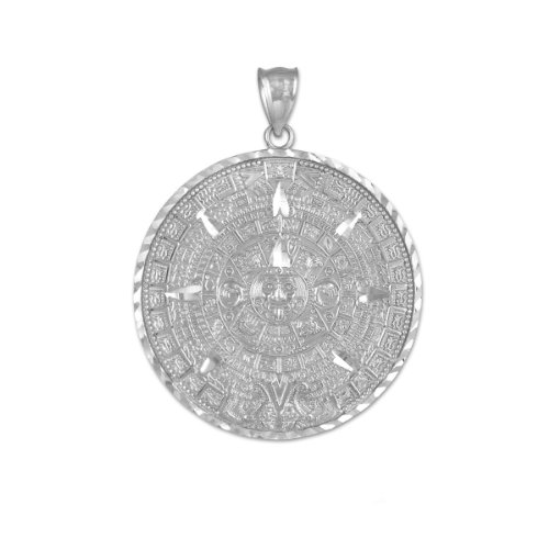 925 Sterling Silver Aztec Charm Mayan Calendar Pendant (25.4 Millimeters)