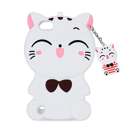 Mulafnxal White Cat Case for iPod Touch 5 6 5th 6th,3D Soft Silicone Cases,Cute Cartoon Animal Fun Cover,Kawaii Character Unique Girls Kids Cool Protective Protector,Shockproof Rubber Shell for iPod65 (Ipod 5 Generation Cartoon Cases)