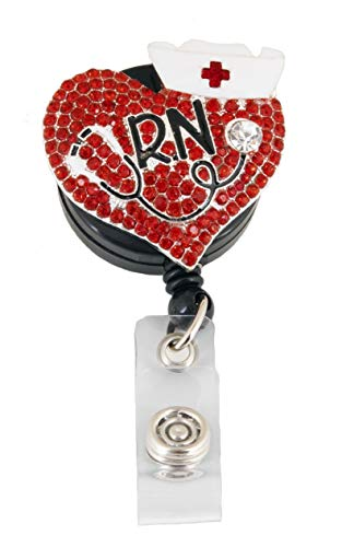 1 Pcs Nurse Retractable Badge Holder Reel Clip, RN Nurse Gifts for Women, Nurse Badge Reels, Perfect Nurse Graduation Gift, Red Heart Name Tag Cute Funny Badges Alligator Clips for Nurses ()