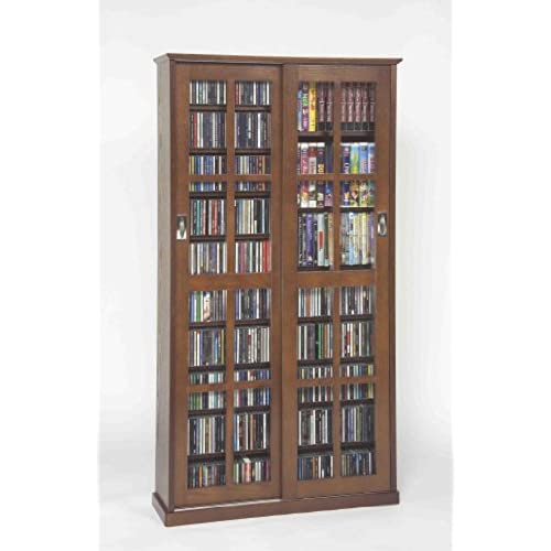 LDE LESLIE DAME Leslie Dame MS 700W Mission Multimedia DVD/CD Storage  Cabinet With Sliding Glass Doors, Walnut
