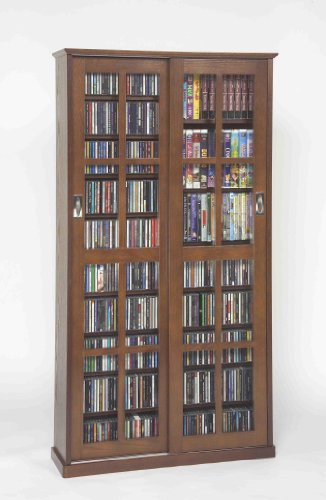 - Leslie Dame MS-700W Mission Multimedia DVD/CD Storage Cabinet with Sliding Glass Doors, Walnut