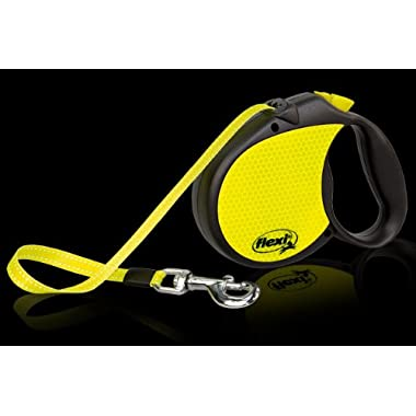 Flexi Retractable Neon Dog Lead, Large Size Leash, Tape 5m, for a Dog up to 50kg
