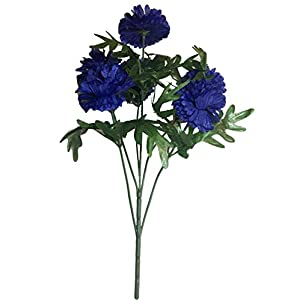 Jewel Tone Blue Bachelor's Button Blooms Bush, 20 inches Tall, Bouquets, Home Decor, Weddings, Offices, Outdoors, Lifelike, Realistic, Vases, Floral Arrangements, Multi- Blossoms, Cornflowers 5