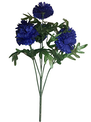Jewel Tone Blue Bachelor's Button Blooms Bush, 20 inches Tall, Bouquets, Home Decor, Weddings, Offices, Outdoors, Lifelike, Realistic, Vases, Floral Arrangements, Multi- Blossoms, -